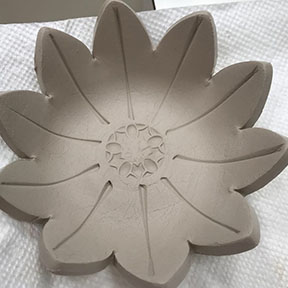 handmade stamped flower bowl